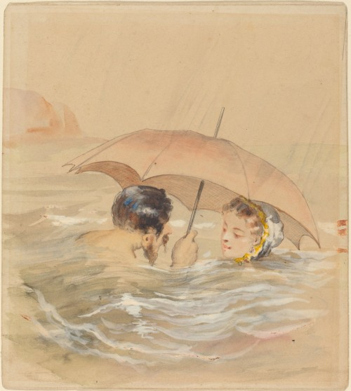 Alfred Grévin. Male and Female Bathers with Umbrella. 1905. Watercolor and gouache over graphite on heavy wove paper. National Gallery of Art, USA