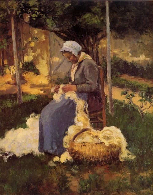 Camille Pissarro. Peasant Woman Carding Wool. 1875