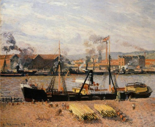 Camille Pissarro. Rouen port, unloading wood. 1898. 92.1 cm x 73 cm. Oil on canvas. Sterling and Francine Clark Art Institute at Williamstown, USA