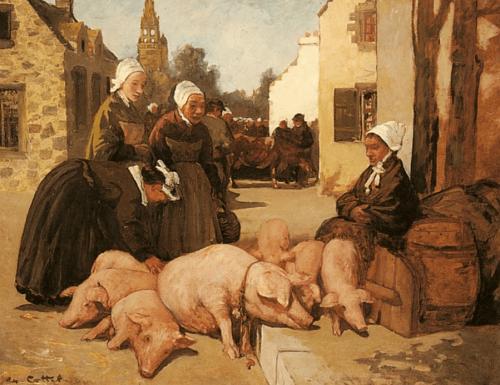 Charles Cottet (1863-1925). Selling Livestock.