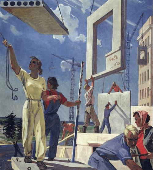 Дейнека Александр Александрович. Мирные стройки (Эскиз Мозаики). 1959-60 г.