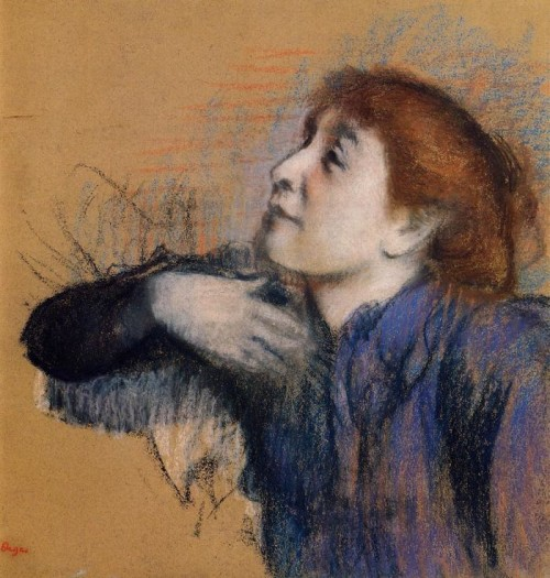 Edgar Degas. Bust of a Woman. (circa 1880-1885). Pastel on tan paper. Private collection
