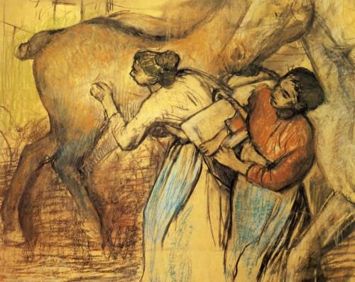 Edgar Degas. Blanchisseuses et cheval. 1902. Pastel  107x124 cm. Lausanne, musée cantonal des Beaux-Arts