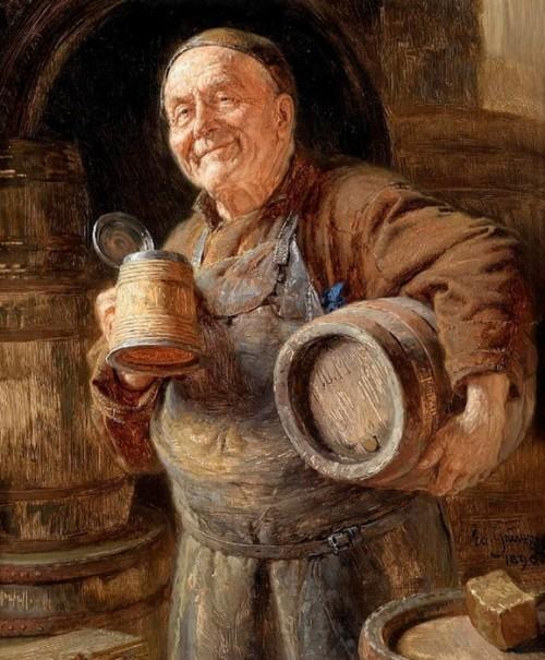 Eduard von Grützner. The satisfied winemaker. Oil on panel. 1896.