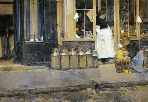 Frederick Childe Hassam. Flower store and Dairy store. 1888