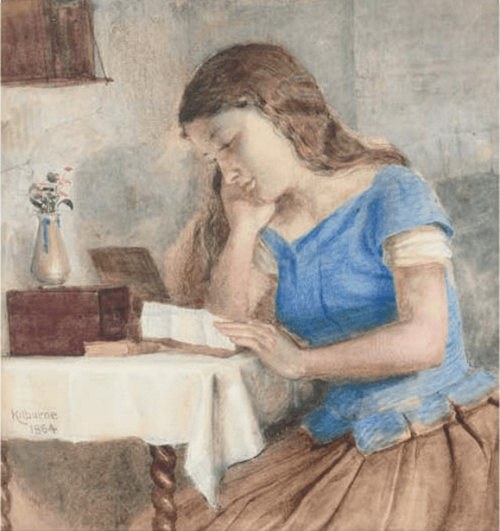 George Goodwin Kilburne (1839-1924). Engrossed in the letter. 1864. Pencil and watercolour. 22.8 x 19 cm.
