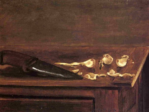 Gustave Caillebotte. Garlic Cloves and knife on the corner of a table. 1871-1878. Private collection. Oil on canvas