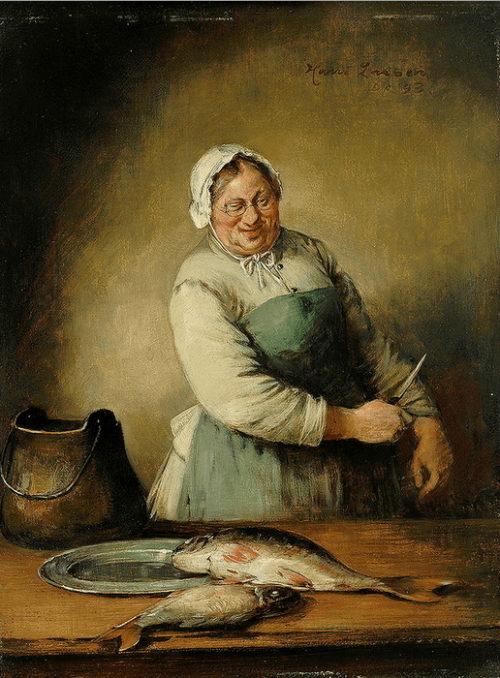 Hans August Lassen (Geb. 1857). Cook and fish.