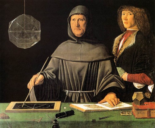 Jacopo de' Barbari. Portrait of Fra Luca Pacioli and an Unknown Young Man. 1500s.