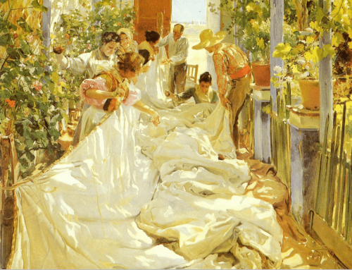 Joaquín Sorolla y Bastida. Sewing the Sail. 1896. Oil on Canvas. Museo d`Arte Moderna di Ca`Pesaro