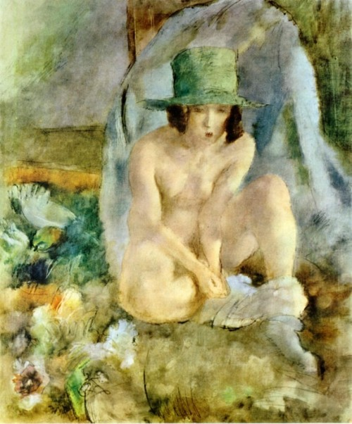 Jules Pascin (1885-1930). Nude with a Green Hat. 1925. Тhe Cincinnati Art Museum.