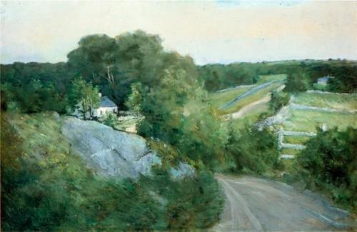 Julian Alden Weir (1852-1919). Green Hills and Farmland.