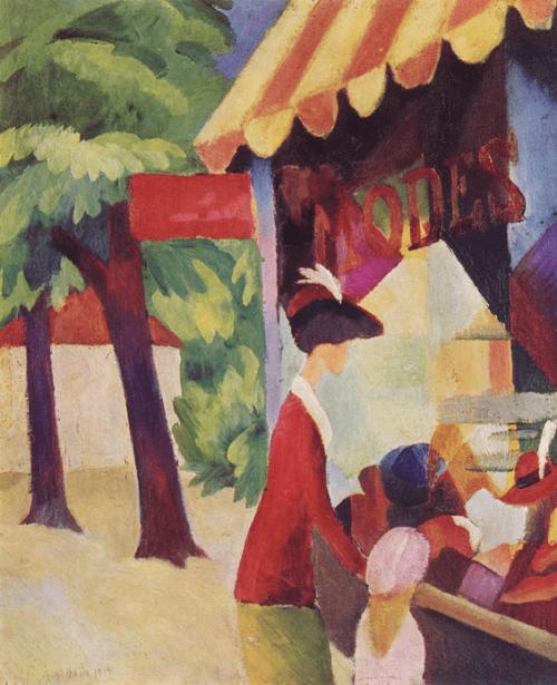 Macke, August. Vor dem Hutladen (Frau mit roter Jacke und Kind). 1913.