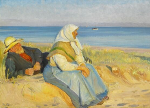 Michael Peter Ancher (1849-1927). A fisherman and his wife in the dunes. 1916–1917. Oil on canvas.