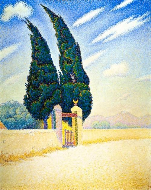 Paul Signac (1863-1935). Two Cypresses, Mistral, Opus 241. Kröller-Müller Museum, Netherlands.