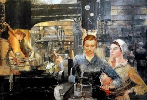 Пименов Юрий Иванович. Работницы Уралмаша на заводе. Центральная часть триптиха. 1934 г.