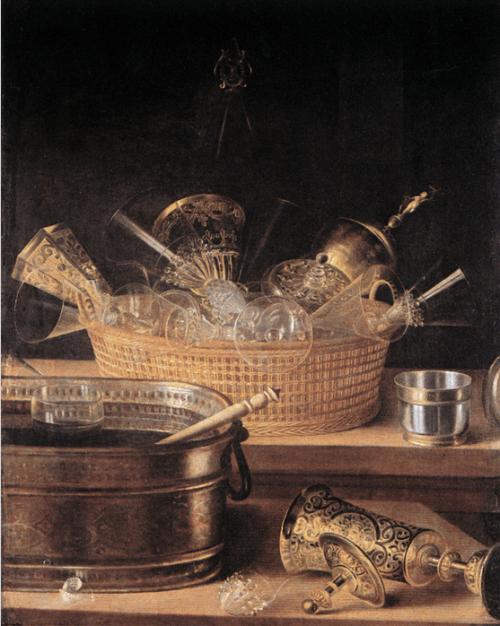 Sebastian Stoskopff, Metallgefässe und Gläser in einem Korb. undated, prior to 1657.