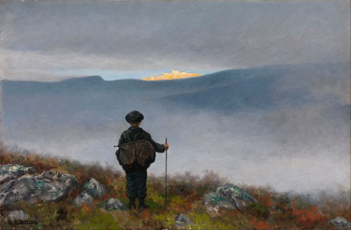 Theodor Kittelsen (1857-1914). Far, far away Soria Moria Palace shimmered like Gold. 1900. Nasjonalmuseet for kunst.