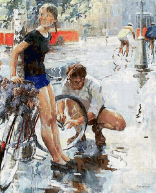 Цветков Виктор Александрович (род. 1920 г.). Велосипедная прогулка. 1965 г.