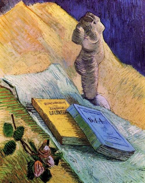 Vincent van Gogh. Still Life with Plaster Statuette, a Rose and Two Novels. Oil on canvas. Paris, December, 1887. Kröller-Müller Museum